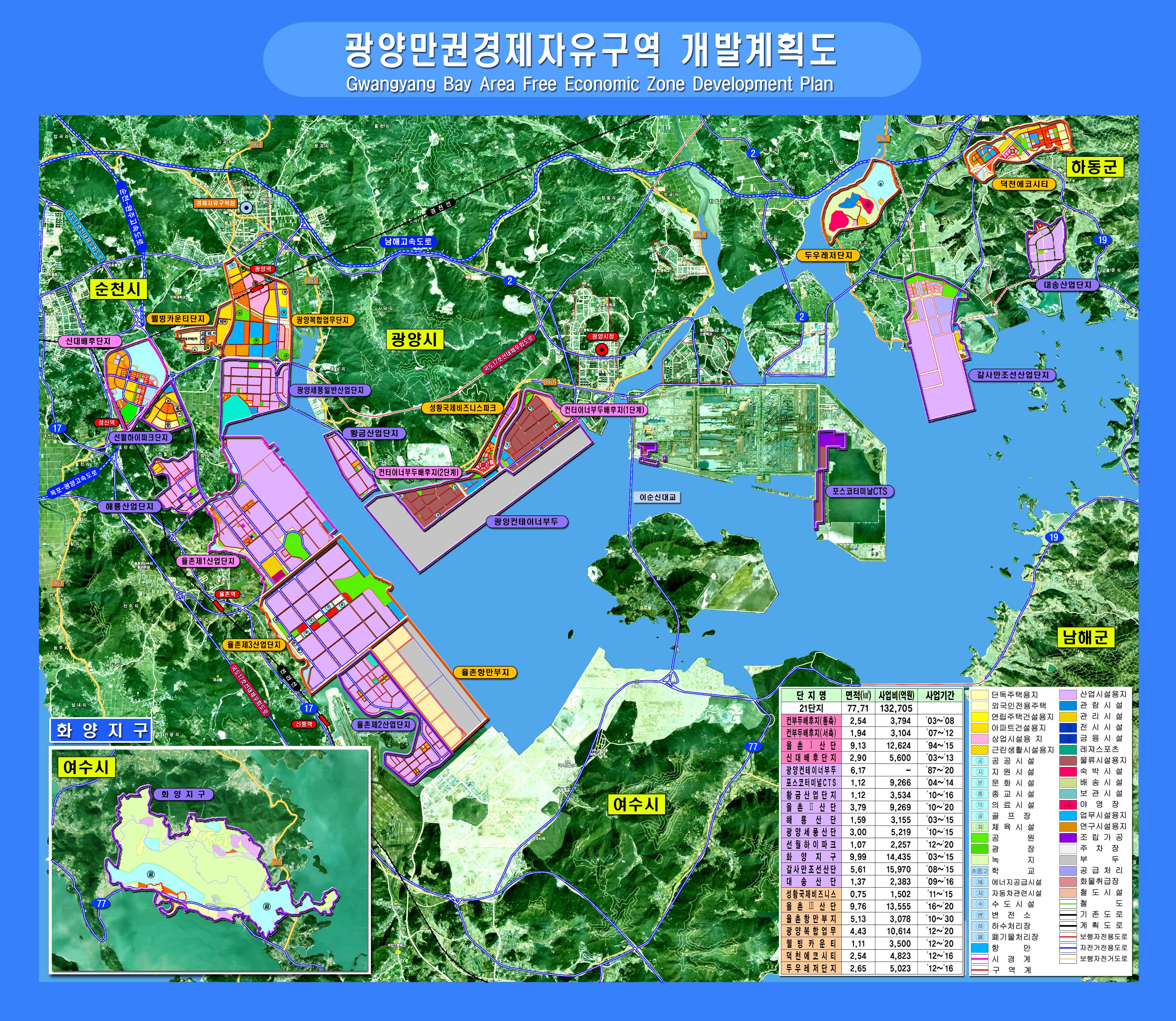 광양만권경제자유구역 개발계획도